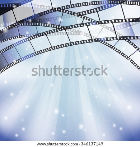 background with filmstrip and stars, stripes, lights on top border. JPG version - stock photo