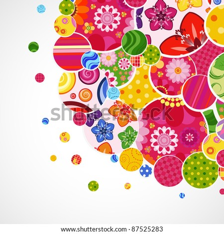 Background with floral and ornamental circles. - stock photo