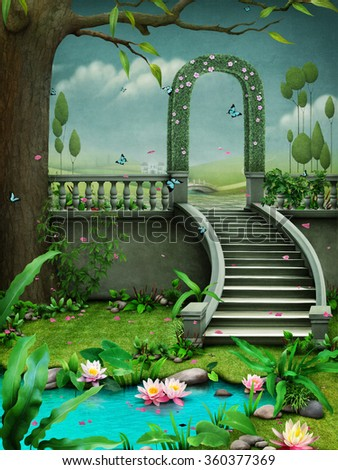 Background with floral green arch on stairs and pond with flowers.  - stock photo
