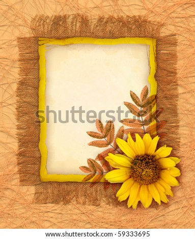 Background with flower and autumn leaves