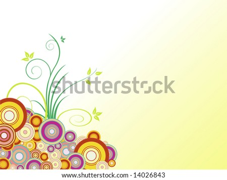 Background with flowers, Illustration, vector, wave