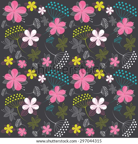background with flowers. Raster version - stock photo