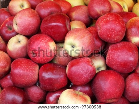 Background with food - fresh red apples.