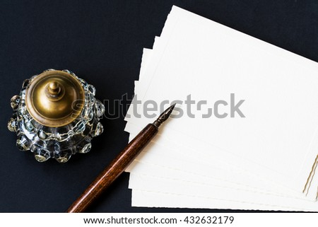Background with fountain pen, inkwell, papers - stock photo