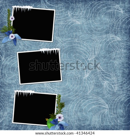 Background with frames and christmas embellishment - stock photo