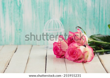 Background with fresh flowers. Roses on white wooden table. Selective focus is on right rose. Toned image. - stock photo