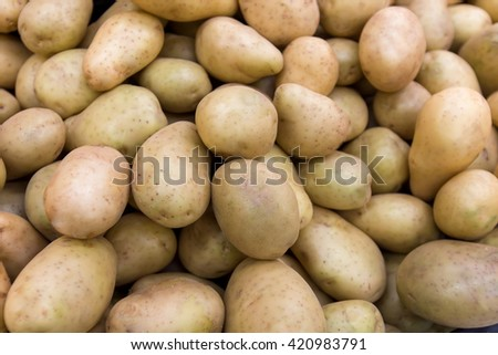 Background with fresh potato, closeup