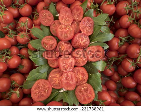 background with fresh red tomatoes in market