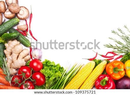 Background with fresh ripe vegetables over white