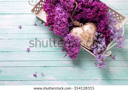 Background  with fresh splendid lilac flowers on tray  and decorative heart on turquoise painted wooden planks. Selective focus. Place for text. - stock photo