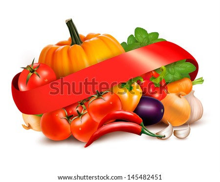 Background with fresh vegetables and red ribbon.  Raster version of vector - stock photo