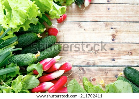 background with fresh vegetables food closeup - stock photo