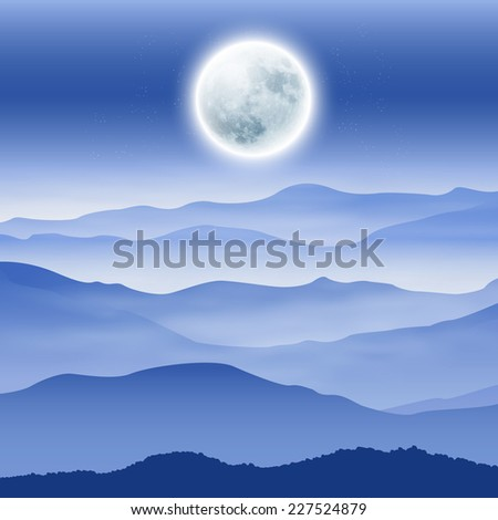 Background with fullmoon and mountains in the fog. - stock photo