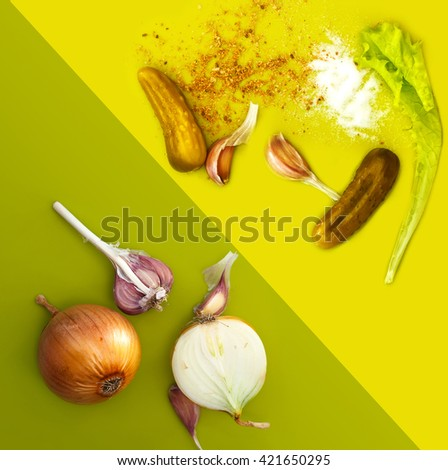 background with garlic,onion,salt, pepper and preserving cucumbers  - stock photo