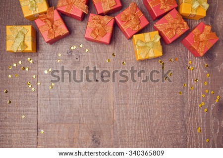 Background with gift boxes on wooden table. Sale and discount concept. View from above - stock photo