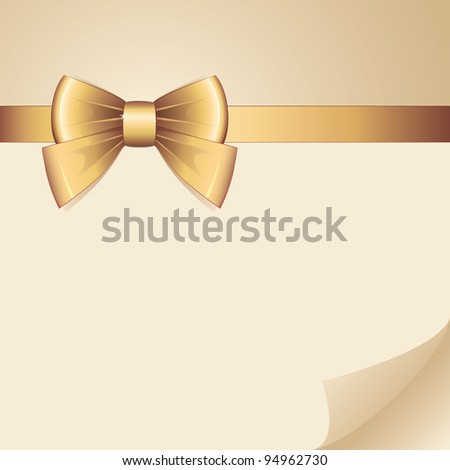 background with gold bow on realistic paper