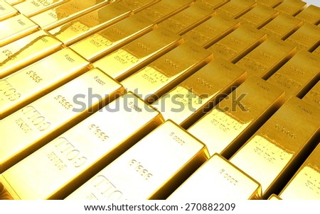 Background with gold bullion 3D