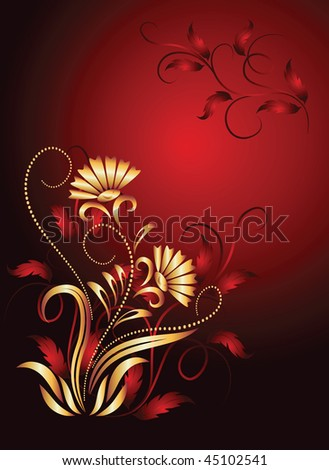 Background with gold ornament. Raster version of vector.