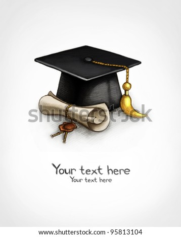 Background with graduation cap and diploma - stock photo