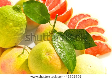 background with grapefruit and lemon