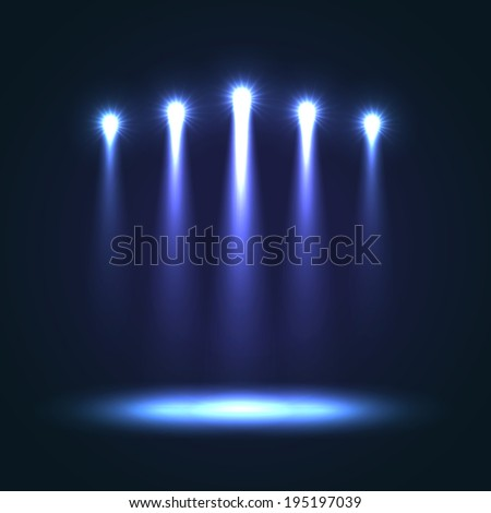 Background With Group Bright Projectors. Blue colored lights - stock photo