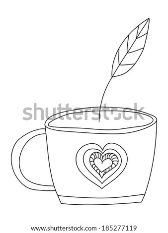 Background with hand drawn cup