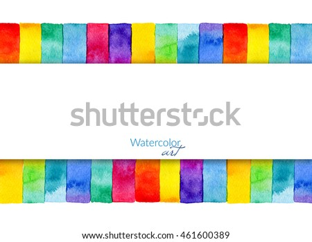 Background with hand drawn rainbow watercolor rectangular elements.