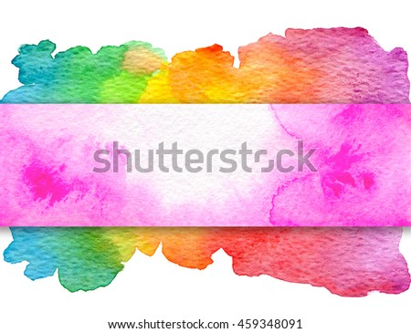 Background with hand drawn watercolor elements. Pink banner on rainbow background.