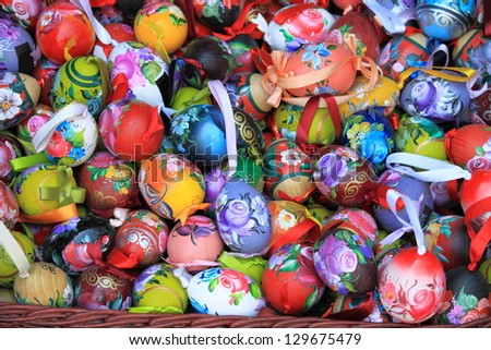 Background with hand painted easter eggs - stock photo