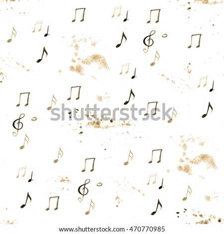 Background with handmade musical notes. Seamless pattern.