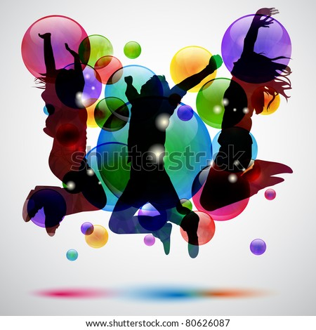 Background with happy people jumping and bubbles - stock photo