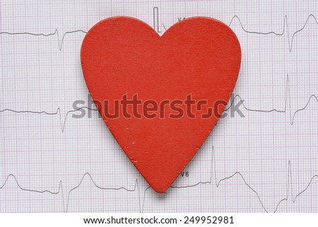 Background with heart symbol. Cardiogram background with heart symbol - stock photo