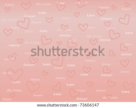 background with hearts and word Love in several languages - stock photo