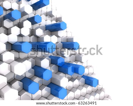 Background with high blue and white hexagons - stock photo