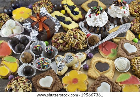 Background with homemade sweet things, cookies and candies - stock photo