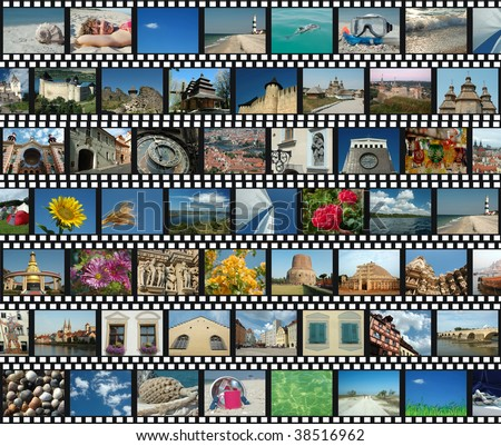 Background with horizontal travel filmstrips