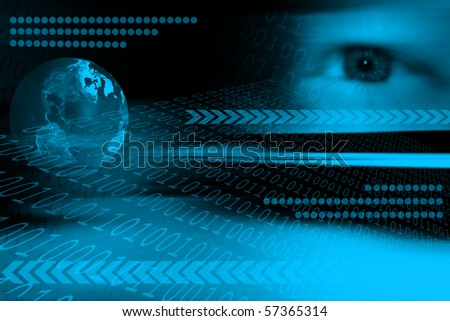 Background with human eye, earth, binary code and geometrical symbols - stock photo