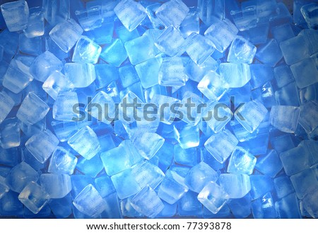 background with ice cubes in blue light - stock photo