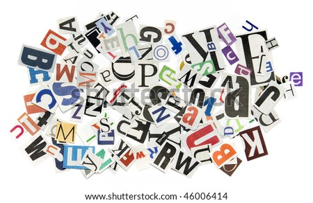 Background with letters from newspapers - stock photo
