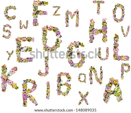 Background with letters made of newspaper clippings - stock photo