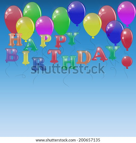 Background with letters of the balloons on the sky background. - stock photo