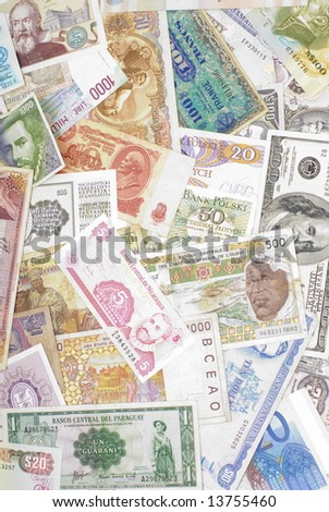 Background with lots of World Money . - stock photo