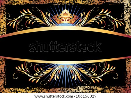 Background with luxurious copper ornament and crown. Raster version of vector. Raster version of vector. - stock photo