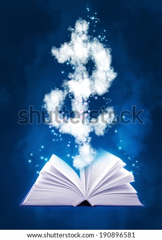 Background with magic book and dollar symbol