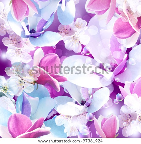 Background with magnolia and apple flowers - stock photo