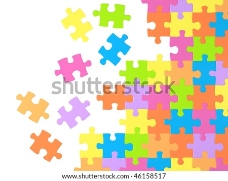 Background with many colored puzzles