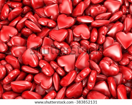 Background with many red hearts inscription congratulations