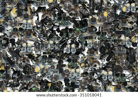 Background with many spare parts for car. Art background - stock photo