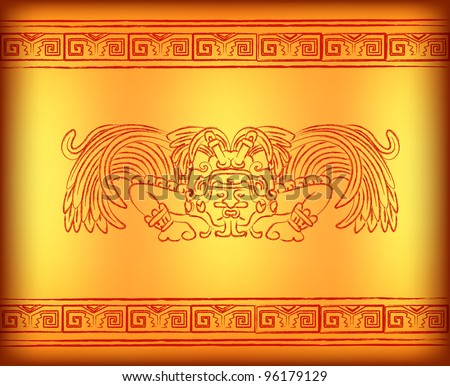 Background with mayan god with wings - stock photo