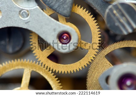 Background with metal cogwheels a clockwork. Conceptual photo for your successful business design. Macro - stock photo